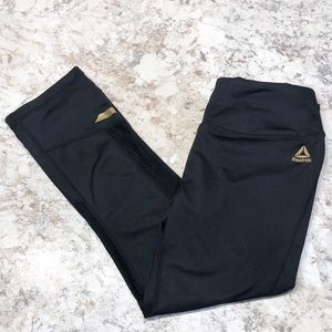 Reebok Cropped Leggings Black & Gold Women Size XS